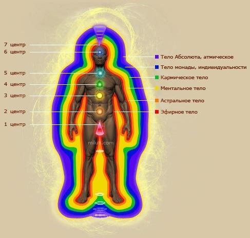 Схематичная модель тонких тел человека
